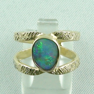 Goldring mit Top GEM Semi Black Opal 1,60 ct