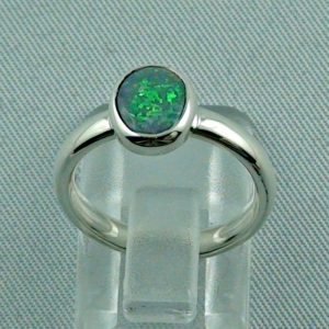 R00182 - 925er Sterling Silberring mit Black Crystal Opal 0,76 ct