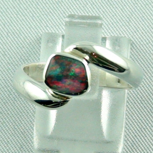 0,67 ct Black Picture Opal Silberring, Damenring