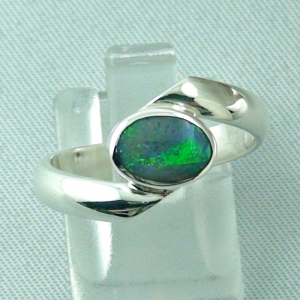 925er Sterling Silberring mit Black Opal 0,61 ct - Damenring - Opalring