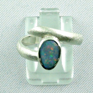 Sterling Silberring mit Top GEM Semi Black Opal 1,11 ct