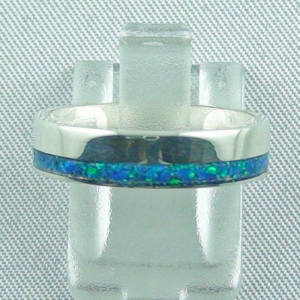 925er Opalring 4,21 gr., Bandring, Silberring mit Opal Inlay ocean blue
