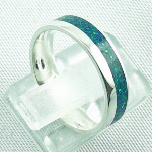 Opalring 3,11 gr., Bandring, Silberring mit Opal Inlay sea green, Bild5