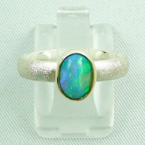 Silberring 1,05 ct Welo Opal in 14k Gold, Opalring, Bild1