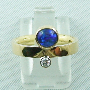 750er Goldring, Damenring, 0,90 ct Black Crystal Opal, Diamant