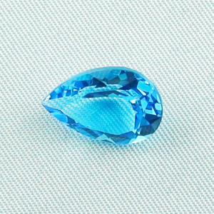 7,42 ct Blau Topas Swiss Blue - Tropfenschliff - Video & Zertifikat