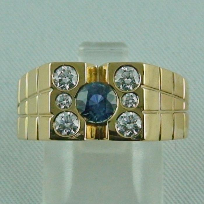 Massiver Herrenring Goldring mit Saphir und Diamanten