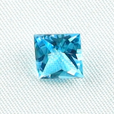 AAA Custom Square Cut Blautopas 2,71 ct Swiss Blue online kaufen!