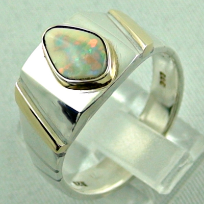 Sterling Silberring 14k Gold, Opalring mit White Opal, Bild3