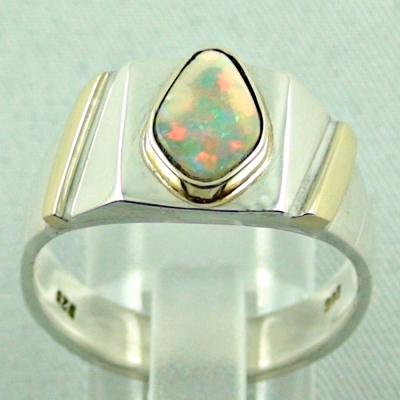 Sterling Silberring 14k Gold, Opalring mit White Opal, Bild4