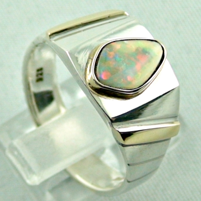 Sterling Silberring 14k Gold, Opalring mit White Opal, Bild5