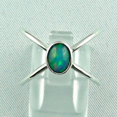 Massiver Silberring mit Welo Opal 0,69 ct Opalring, Bild1