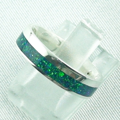Opalring 3,11 gr., Bandring, Silberring mit Opal Inlay sea green, Bild2