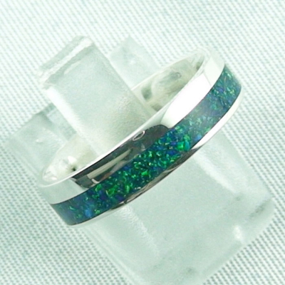Opalring 3,11 gr., Bandring, Silberring mit Opal Inlay sea green, Bild6