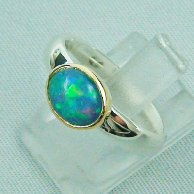 Massiver 935er Silberring mit 1,24 CT Welo Opal in Goldfassung 55 mm / 17,50 mm multicolor