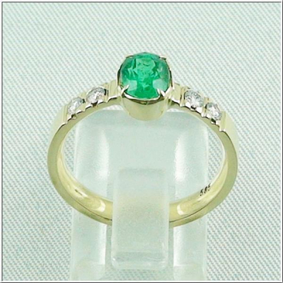 14k Damenring 1,15 ct Smaragd, Diamanten 0,20 ct, Bild4