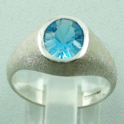 925er Sterling Silberring mit 2,83 ct Swiss Blue Blautopas​​ - Silberring mit Edelsteine / Blautopaz online kaufen!